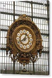 Ornate Orsay Clock Acrylic Print by Ann Horn