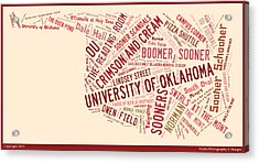 Ou Word Art University Of Oklahoma Acrylic Print by Roberta Peake