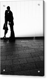 Out Of Focus Couple Kissing Acrylic Print by Gillham Studios