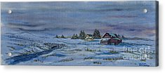Over The Bridge And Through The Snow Acrylic Print by Charlotte Blanchard