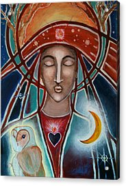Owl And Goddess Acrylic Print by Lakshmi Light