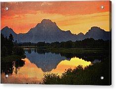 Oxbow Sunset 13 Acrylic Print by Marty Koch