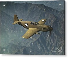 P51 Mustang In Flight Acrylic Print by Padre Art