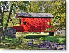 Pa Country Roads - Ebenezer Covered Bridge Over Mingo Creek No. 11b - Autumn Washington County Acrylic Print by Michael Mazaika