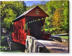Pa Country Roads - Ebenezer Covered Bridge Over Mingo Creek No. 2a - Autumn Washington County Acrylic Print by Michael Mazaika