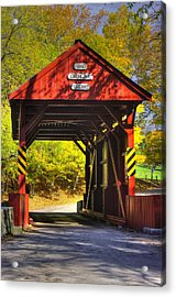Pa Country Roads - Ebenezer Covered Bridge Over Mingo Creek No. 8 - Autumn Washington County Acrylic Print by Michael Mazaika