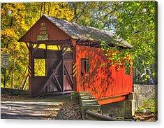 Pa Country Roads - Henry Covered Bridge Over Mingo Creek No. 3a - Autumn Washington County Acrylic Print by Michael Mazaika