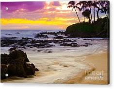 Paako Beach Sunset Jewel Acrylic Print by Sharon Mau