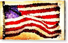 Painted American Flag Acrylic Print by Andrea Barbieri