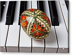 Painted Easter Egg On Piano Keys Acrylic Print by Garry Gay