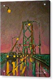 Painting Of Traffic On Wet Bridge Deck At Night Acrylic Print by John Malone