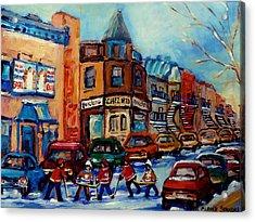 Paintings Of Montreal Hockey On Fairmount Street Acrylic Print by Carole Spandau