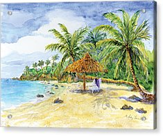 Palappa N Adirondack Chairs On A Caribbean Beach Acrylic Print by Audrey Jeanne Roberts