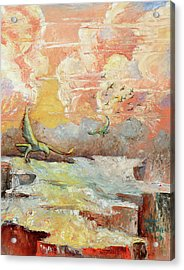Palette Knife Flight Acrylic Print by Carolyn Coffey Wallace