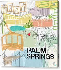Palm Springs Cityscape- Art By Linda Woods Acrylic Print by Linda Woods
