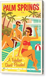 Palm Springs Retro Travel Poster Acrylic Print by Jim Zahniser