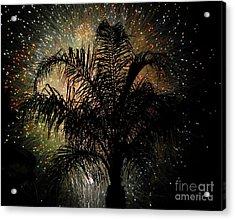 Palm Tree Fireworks Acrylic Print by David Lee Thompson
