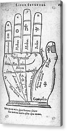Palmistry Diagram, 1616 Acrylic Print by Middle Temple Library