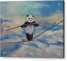 Panda Tightrope Acrylic Print by Michael Creese