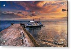 Pandanon Island Sunset Acrylic Print by Adrian Evans