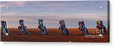 Panorama Of Cadillac Ranch In The Early Morning - Amarillo Texas Panhandle Acrylic Print by Silvio Ligutti