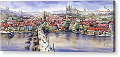Panorama With Vltava River Charles Bridge And Prague Castle St Vit Acrylic Print by Yuriy  Shevchuk