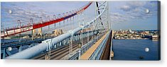 Panoramic View Of Ben Franklin Bridge Acrylic Print by Panoramic Images