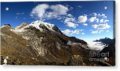 Panoramic View Of Mt Huayna Potosi And Zongo Valley Bolivia Acrylic Print by James Brunker