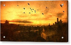 Panoramic View Of Seattle From The Balcony Acrylic Print by Victoria Porter