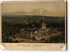 Panoramic View Of Washington City From The New Dome Of The Capitol Acrylic Print by MotionAge Designs