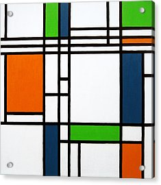 Parallel Lines Composition With Blue Green And Orange In Opposition Acrylic Print by Oliver Johnston
