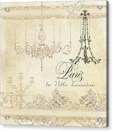 Parchment Paris - City Of Light Chandelier Candelabra Chalk Acrylic Print by Audrey Jeanne Roberts