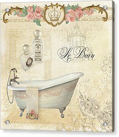 Parchment Paris - Le Bain Or The Bath Chandelier And Tub With Roses Acrylic Print by Audrey Jeanne Roberts