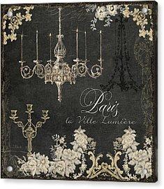 Paris - City Of Light Chandelier Candelabra Chalk Acrylic Print by Audrey Jeanne Roberts