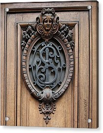 Paris - 19th Century Door Ornament Acrylic Print by Yvonne Wright