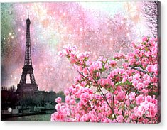 Paris Eiffel Tower Cherry Blossoms - Paris Spring Eiffel Tower Pink Blossoms  Acrylic Print by Kathy Fornal