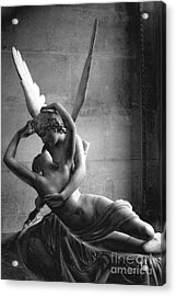 Paris In Love - Eros And Psyche Romantic Lovers - Paris Eros Psyche Louvre Sculpture Black White Art Acrylic Print by Kathy Fornal