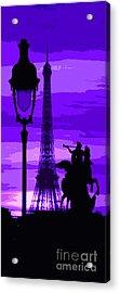 Paris Tour Eiffel Violet Acrylic Print by Yuriy  Shevchuk