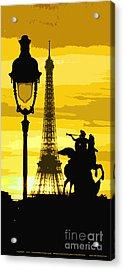 Paris Tour Eiffel Yellow Acrylic Print by Yuriy  Shevchuk