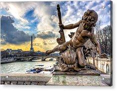Parisian Cherub On The Pont Alexandre IIi Acrylic Print by Mark E Tisdale