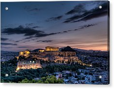 Parthenon And Acropolis At Dawn Acrylic Print by Michael Avory