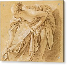 Partially Nude Woman Bathing Acrylic Print by Francois Boucher