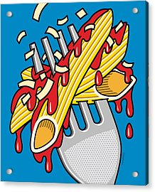 Pasta On Blue Acrylic Print by Ron Magnes