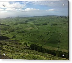 Pastures Inside The Rim On Terceira, Azores, Portugal Acrylic Print by Kelly Hazel