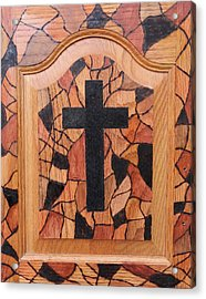 Patchwork And Cross Acrylic Print by Lisa Brandel