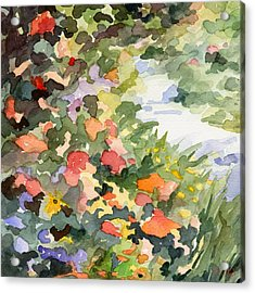 Path Monets Garden Watercolor Paintings Of France Acrylic Print by Beverly Brown Prints