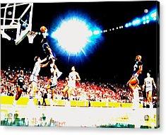 Patrick Ewing Nasty Slam  Acrylic Print by Brian Reaves