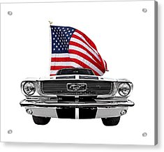 Patriotic Mustang On White Acrylic Print by Gill Billington