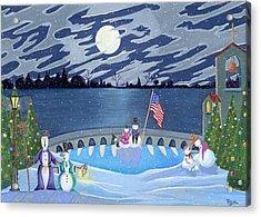 Patriotic Snowmen Acrylic Print by Thomas Griffin