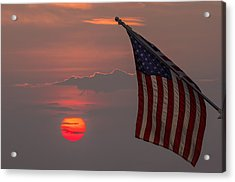 Patriotic Sunset Acrylic Print by Mark Papke